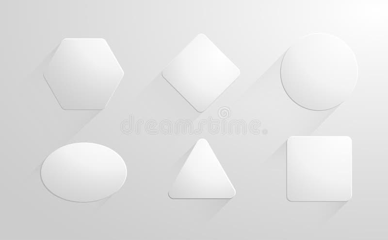 Abstrakcjonistycznych geometrycznych kształtów biali papiery, etykietka, majchery ustawiający royalty ilustracja