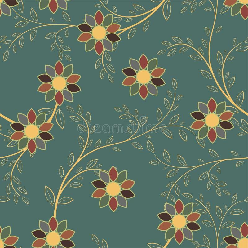 Abstrakcjonistycznych geometrycznych kwiatów bezszwowy wzór szczegółowy rysunek kwiecisty pochodzenie wektora ilustracja wektor