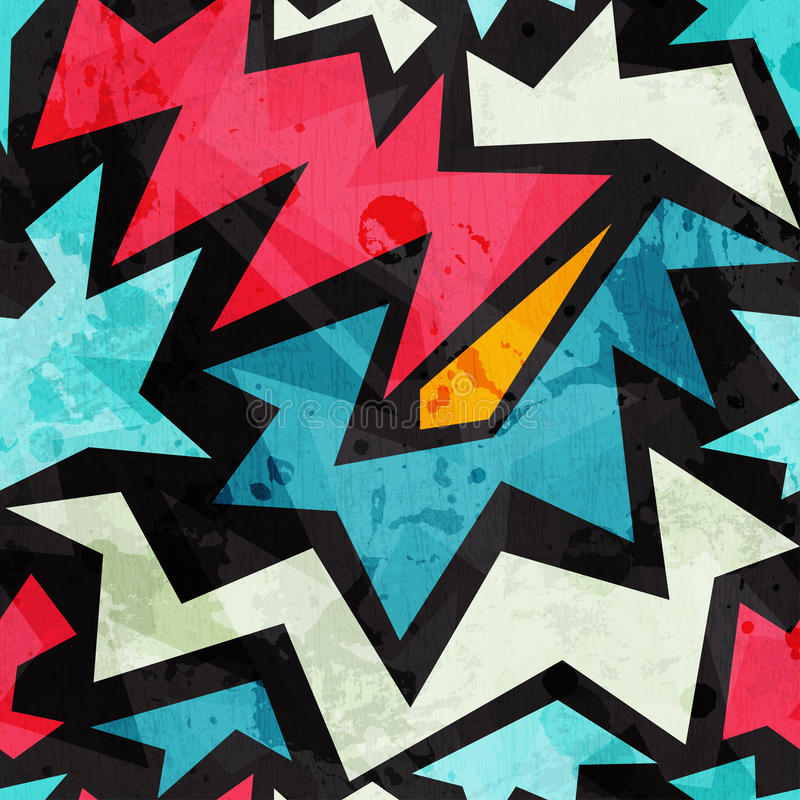 Abstrakcjonistycznych graffiti bezszwowa tekstura z grunge skutkiem royalty ilustracja