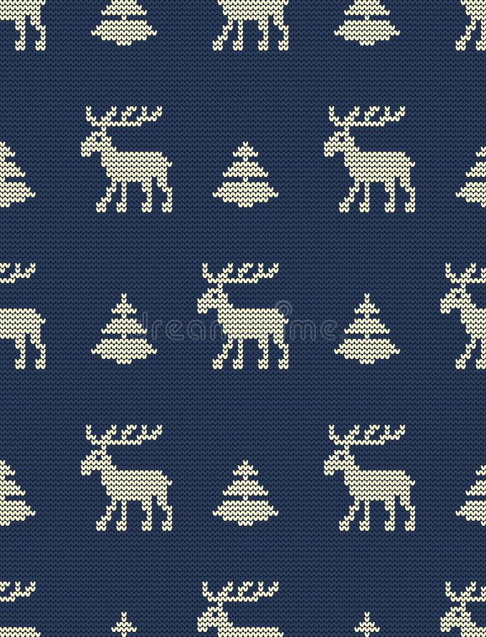 abstrakcjonistycznych gwiazdkę tła dekoracji projektu ciemnej czerwieni wzoru star white Bezszwowy trykotowy wzór z deers i jedli ilustracja wektor