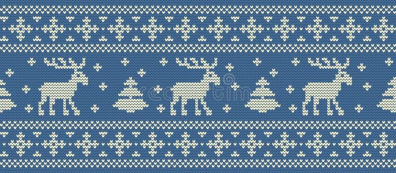 abstrakcjonistycznych gwiazdkę tła dekoracji projektu ciemnej czerwieni wzoru star white Trykotowy wzór z deers i jedlinowymi drz royalty ilustracja