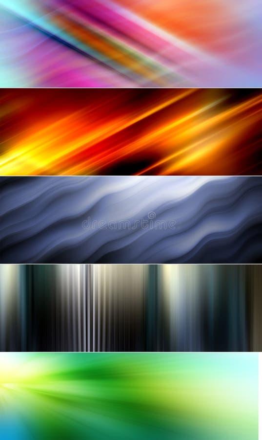 5 abstrakcjonistycznych kolorowych tło stosownych dla strona internetowa sztandarów i chodnikowów ilustracja wektor