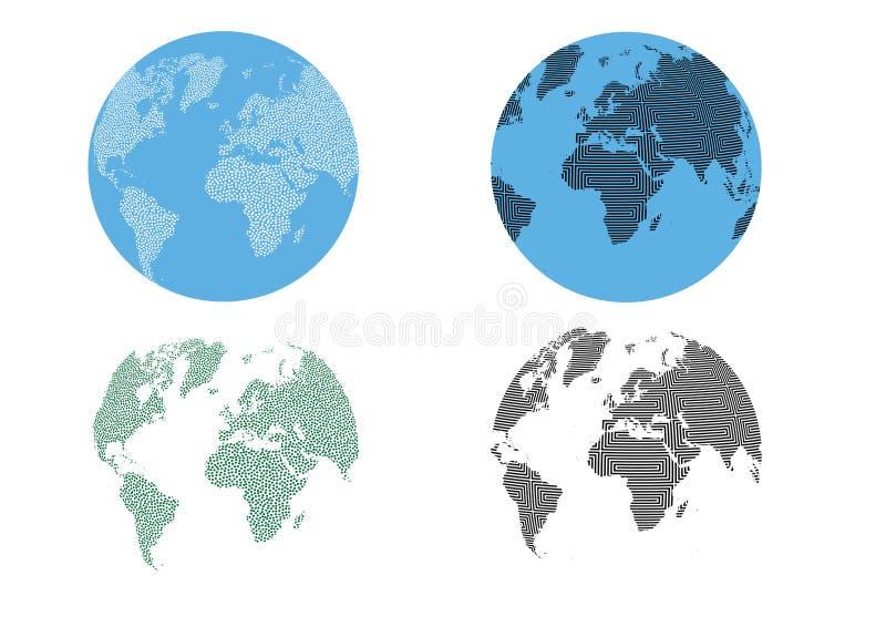 Abstrakcjonistycznych kropek tekstury wzoru światu Okulistyczna kula ziemska royalty ilustracja