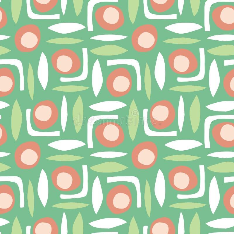 Abstrakcjonistycznych kształtów wektoru wzoru papieru bezszwowy retro cięcie za kolażu stylu zieleni bielu pomarańcze royalty ilustracja