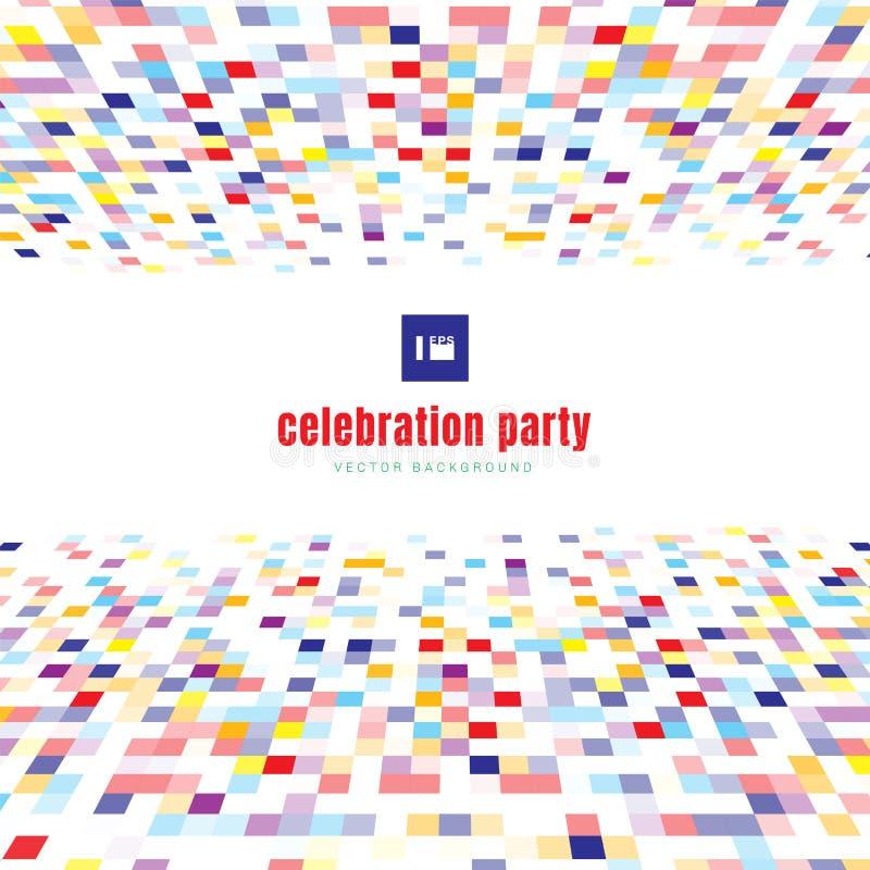 Abstrakcjonistycznych kwadratów koloru świętowania deseniowy perspektywiczny kolorowy przyjęcie na białym tle ilustracji