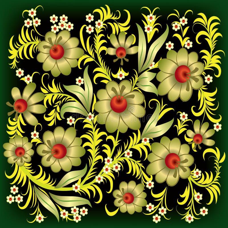 abstrakcjonistycznych kwiecistych kwiatów złocisty ornament royalty ilustracja