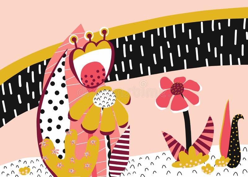 Abstrakcjonistycznych kwiecistych wektorowych elementów papierowy kolaż Kolaż kwitnie mnie ilustracji