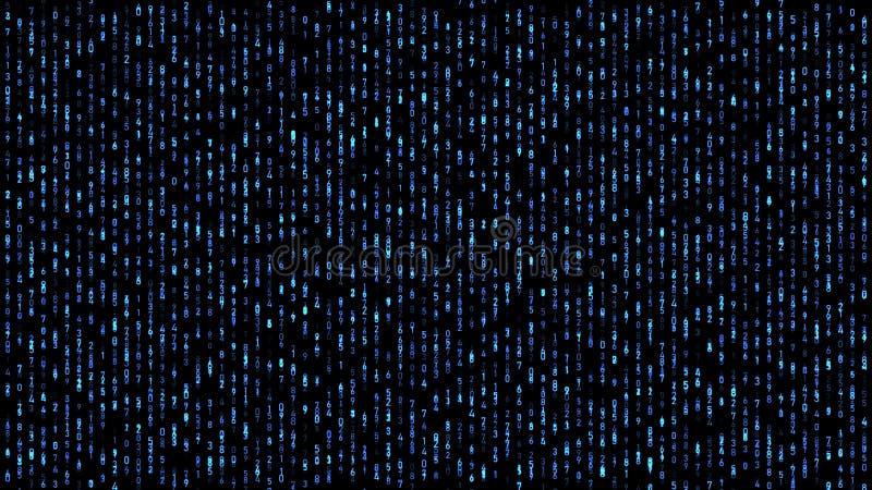 Abstrakcjonistycznych liczb kodu matrycowy spada błękit ilustracja wektor