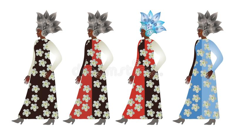 Abstrakcjonistycznych modelów afrykańskie kobiety w Paisley kruszcowych hełmach i suknie z kwiecistymi drukami ilustracja wektor