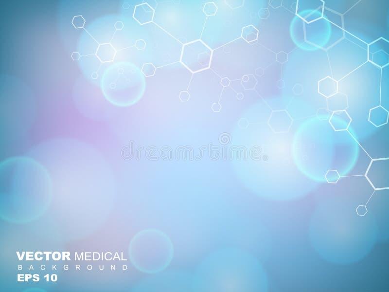 Abstrakcjonistycznych molekuł medyczny tło. ilustracji