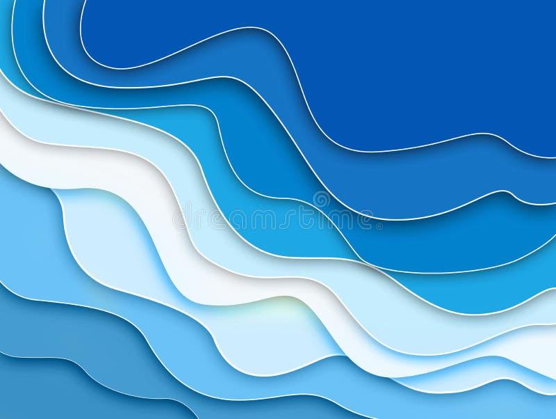 Abstrakcjonistycznych niebieskich linii falowa tekstura, sztandaru tło dla sieć projekta karty ilustracja wektor