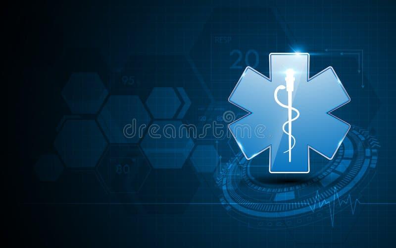 Abstrakcjonistycznych przeciwawaryjnych usługa zdrowotnych opieki zdrowotnej projekta pojęcia szpitalny tło royalty ilustracja