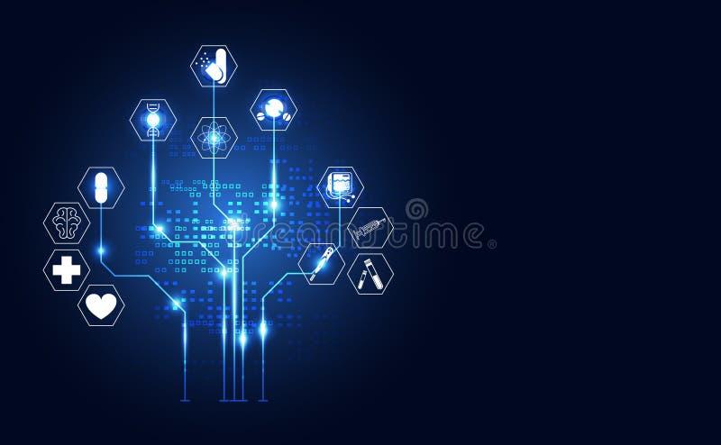 Abstrakcjonistycznych technologii cyfrowych zdrowie pojęcia medyczna ikona cyfrowa royalty ilustracja