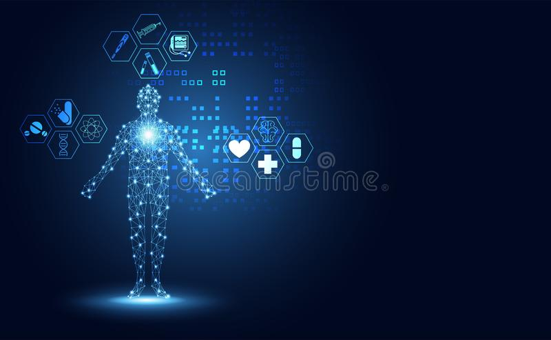 Abstrakcjonistycznych technologii cyfrowych zdrowie pojęcia medyczna istota ludzka cyfrowa ilustracja wektor