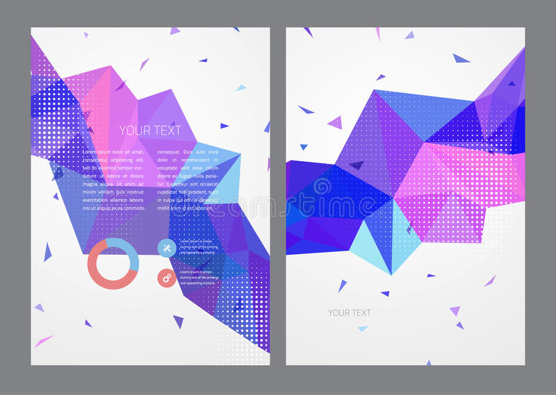 Abstrakcjonistycznych trójboków broszurki Wektorowy szablon ilustracja wektor