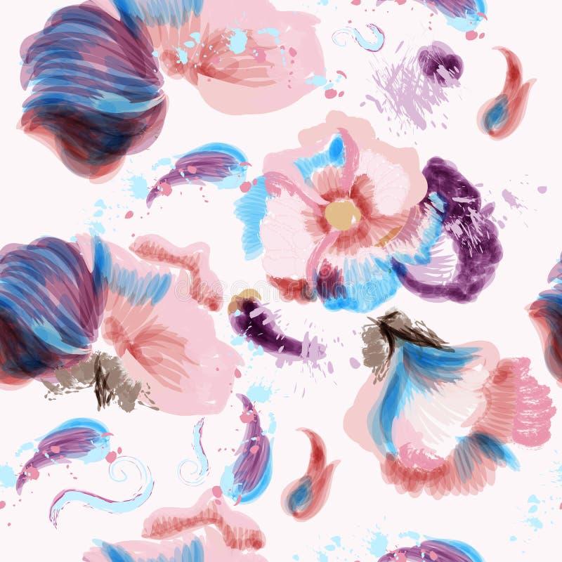 Abstrakcjonistycznych wektor menchii kwiatów błękitny wzór z punktami w grunge stylu ilustracja wektor