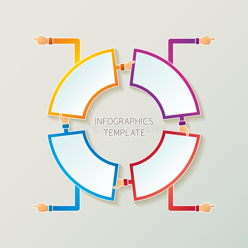 Abstrakcjonistycznych wektoru 4 kroków infographic szablon w 3D stylu dla układu obieg planu, liczącym opcje, mapa lub diagram, ilustracji