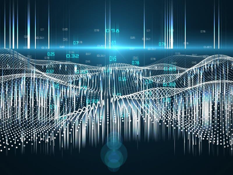 Abstrakcyjna futurystyczna koncepcja analizy predykcyjnej Duże dane Kwantowa kryptografia wirtualna Dane przestrzenne ilustracja wektor