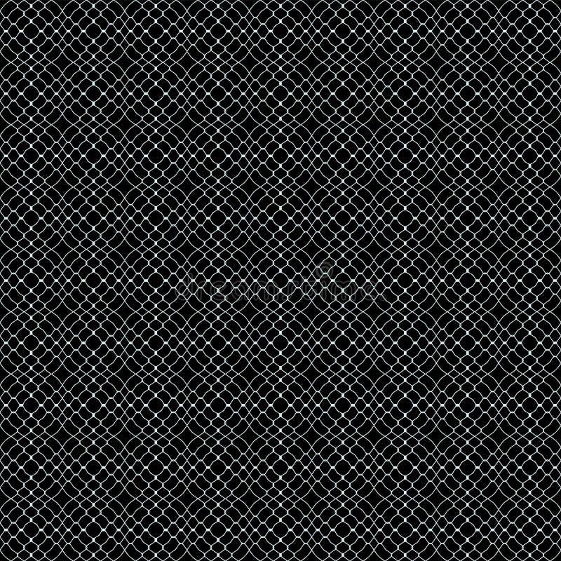 Abstrakcyjna tekstura o wzorzystych oczkach wikliny w kolorze białym na czarnym tle ilustracja wektor