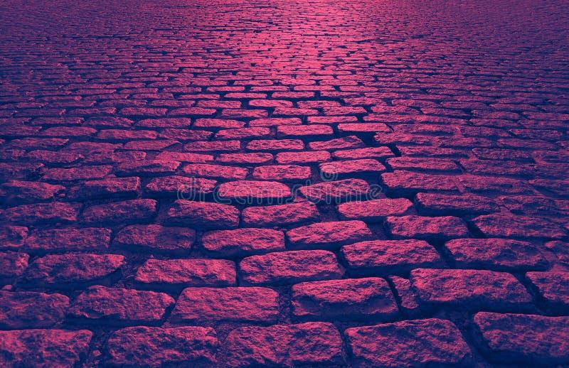 Abstrakcyjna tekstura tła ulicy Cobblestone w kolorze różowym i niebieskim obraz stock