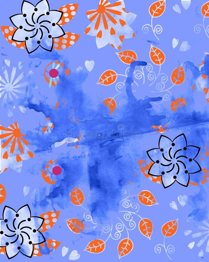 Abstrakcyjne akwarelowe, kolorowe grunty kwiatowe wytwarzane ręcznie i tło cyfrowe ilustracja wektor