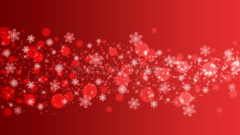 Abstrakcyjne błyszczące płatki śniegu, iskry i boki w tle czerwonego gradientu fotografia stock
