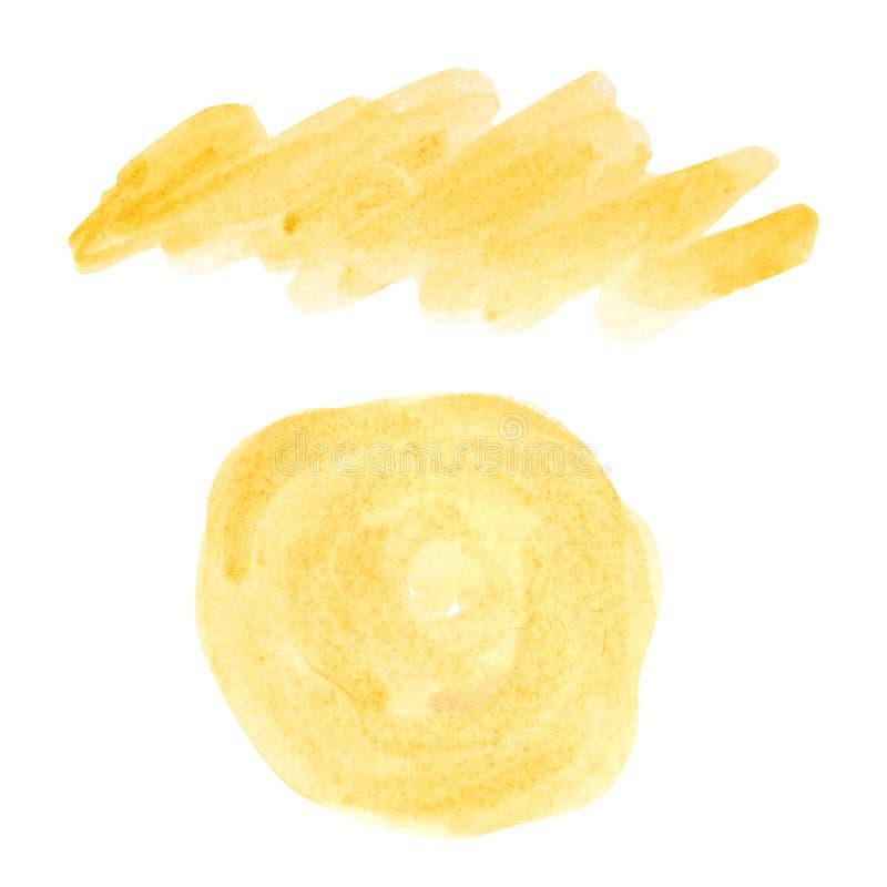 Abstrakcyjne elementy o żółtym okręgu pędzla wodnego powodują, że farba jest izolowana na białym tle Miejsce pomalowania ilustracja wektor
