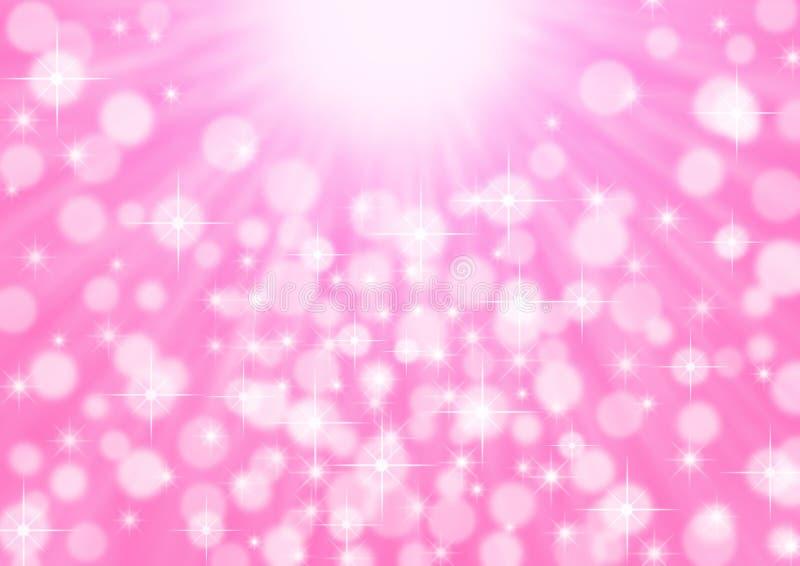 Abstrakcyjne jaskrawe promienie, iskry i bokeh w różowym tle fotografia stock