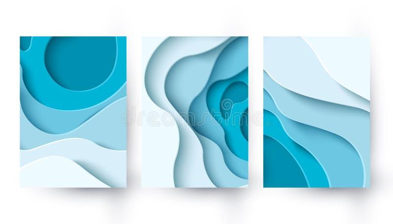 Abstrakcyjne niebieskie tło wycięte na tle z płynnymi kształtami royalty ilustracja