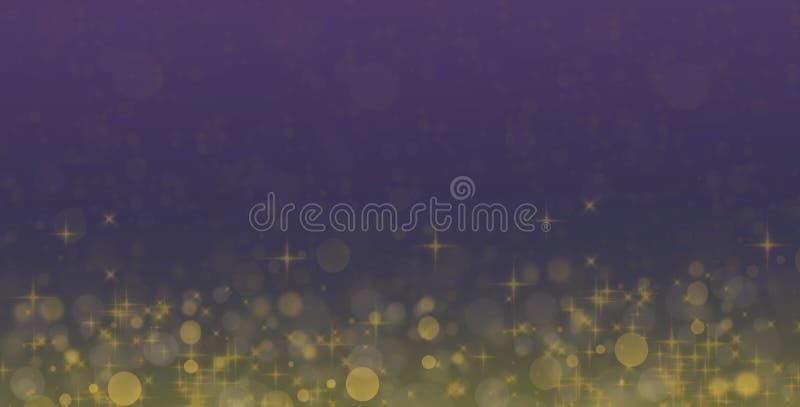 Abstrakcyjne tło niebieskie i złote Efekty połysku Karta powitania fantasy ilustracji