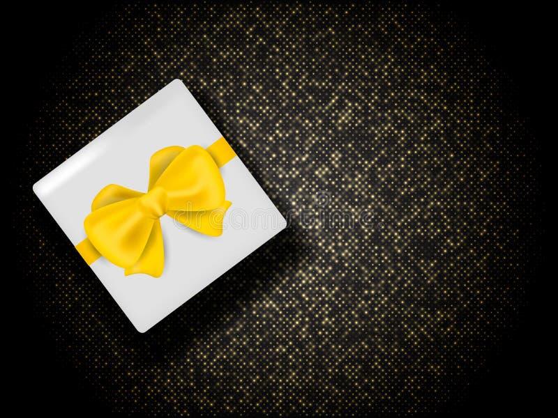 Abstrakcyjne złote tło z pudełkiem na prezent Ilustracja wektorowa fotografia royalty free