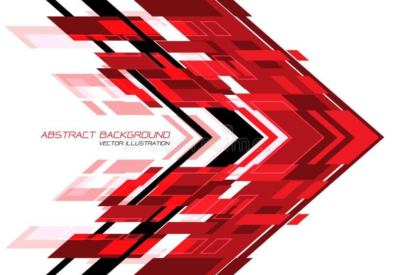 Abstrakcyjny czerwony czarny kierunek geometryczny na białym projekcie nowoczesny futurystyczny wektor tła ilustracja wektor