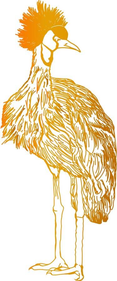 Abstrakcyjny kolorowy ptak Ilustrowany ptak royalty ilustracja