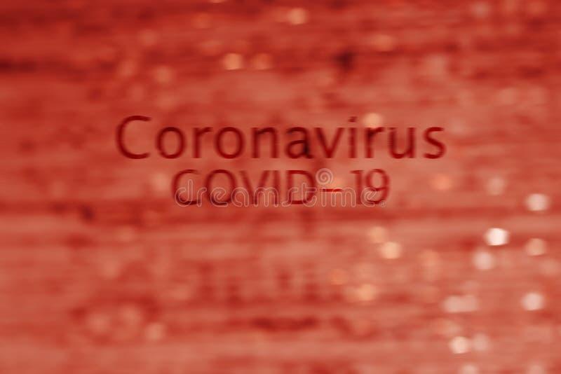Abstrakcyjny obraz przepływu krwi z napisem Coronavirus COVID-19 obraz royalty free