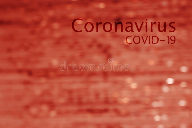 Abstrakcyjny obraz przepływu krwi z napisem Coronavirus COVID-19 zdjęcie stock