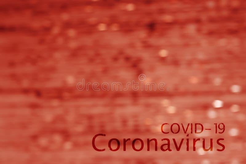 Abstrakcyjny obraz przepływu krwi z napisem Coronavirus COVID-19 fotografia royalty free
