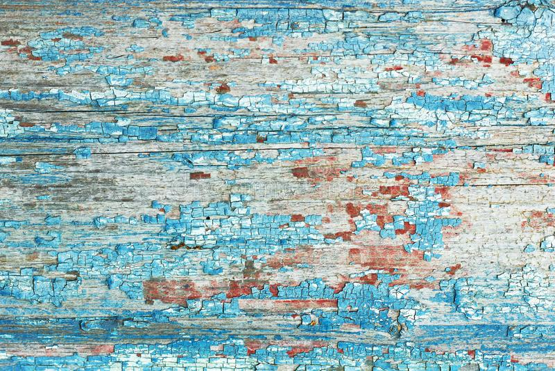Abstrakcyjny, piękny wzór powierzchni starej drewnianej ściany domowej pomalowanej na czerwono i niebiesko, tekstura tła obrazy stock