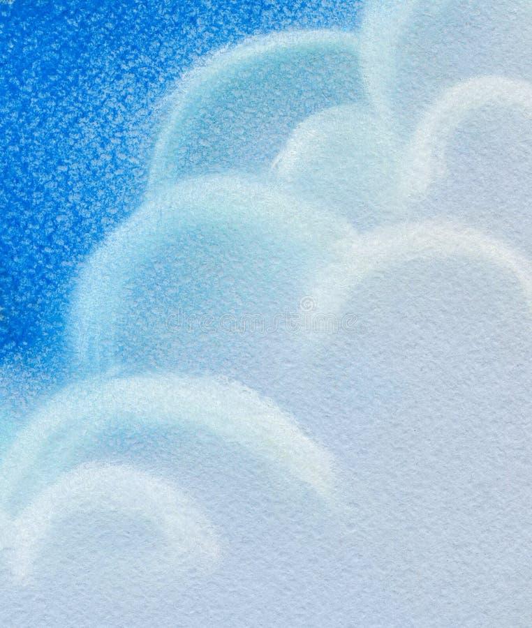 abstrakcyjny tło Wspaniałe cumulus chmury w niebieskim niebie Pociągany ręcznie ilustracja ilustracja z suchym pastelem dalej royalty ilustracja
