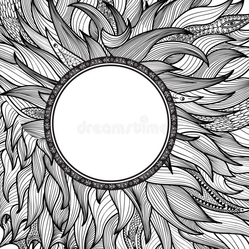 abstrakcyjny tło Zentangle linii wzór z ramą ilustracja wektor