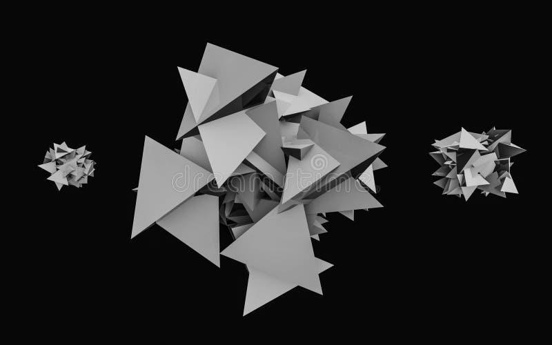 Abstrakcyjny wielokątny odstęp szarości o małym ciemnym tle struktura wielokątna Tło futurystyczne Renderowanie 3W fotografia stock