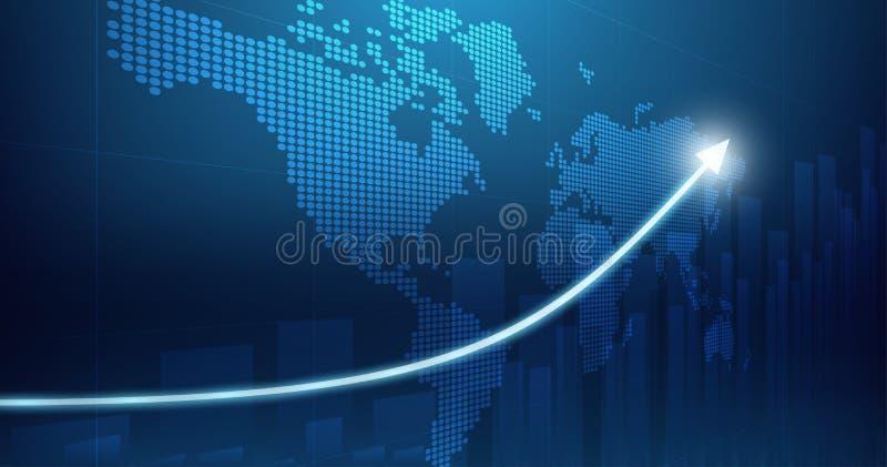 Abstrakcyjny wykres finansowy panoramiczny z wykresem ze strzałką w górę i mapą świata na niebieskim tle kolorów obraz stock