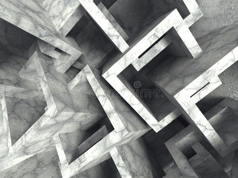 Abstraktów betonowych sześcianów architektury chaotyczny tło ilustracji