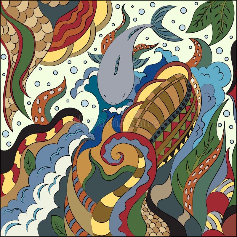 Abstraktów doodles w nautycznym stylu Denne głębie i mieszkanowie ilustracja wektor