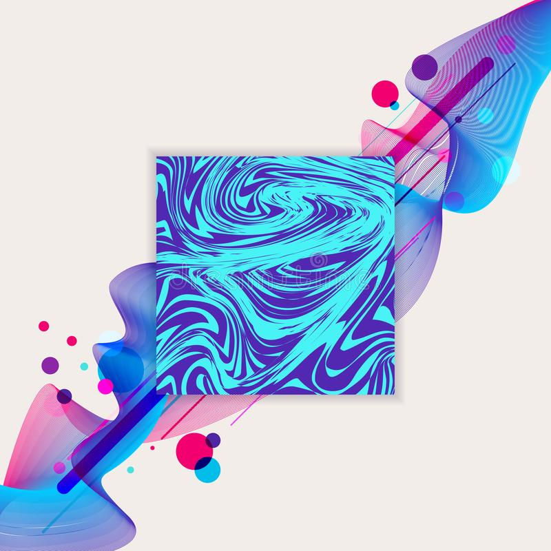 Abstraktów falowi ciekli błękitni, purpury i kolorowego okręgu projekta geometryczny deseniowy tło barwią Kwadratowa marmurowa et ilustracja wektor