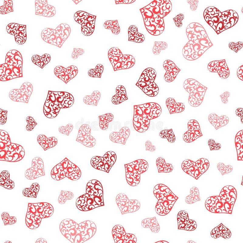 Abstraktów koronkowych serc bezszwowy wzór ilustracja wektor