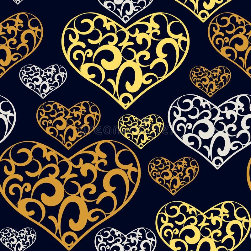 Abstraktów koronkowych serc bezszwowy wzór ilustracji