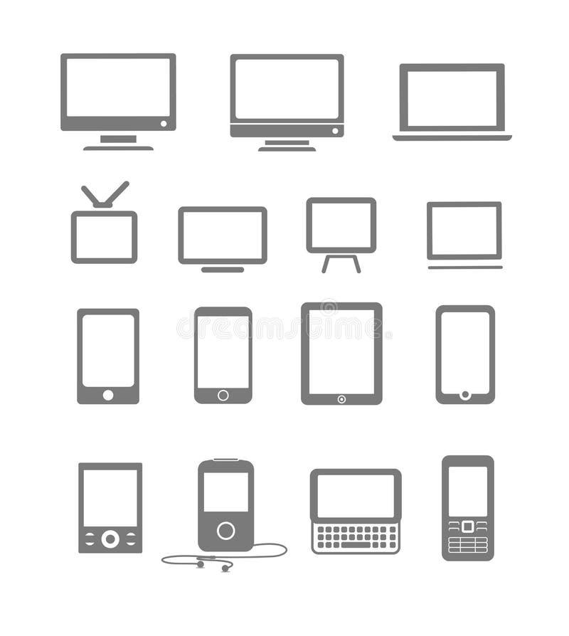 Nowożytni i rocznik mobilni gadżety i monitory royalty ilustracja