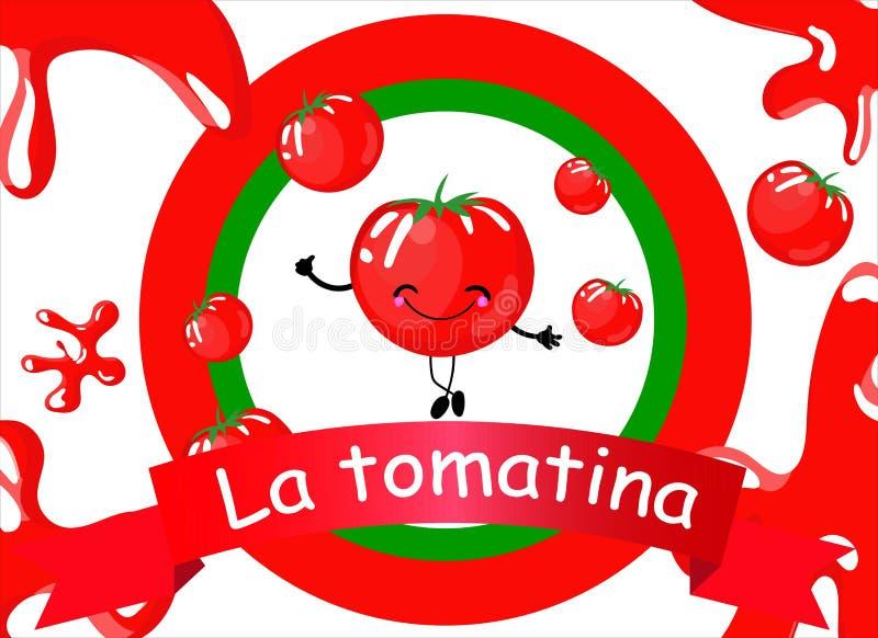 Abstraktów projekty dla hiszpańskiego festiwalu losu angeles tomatina ilustracji