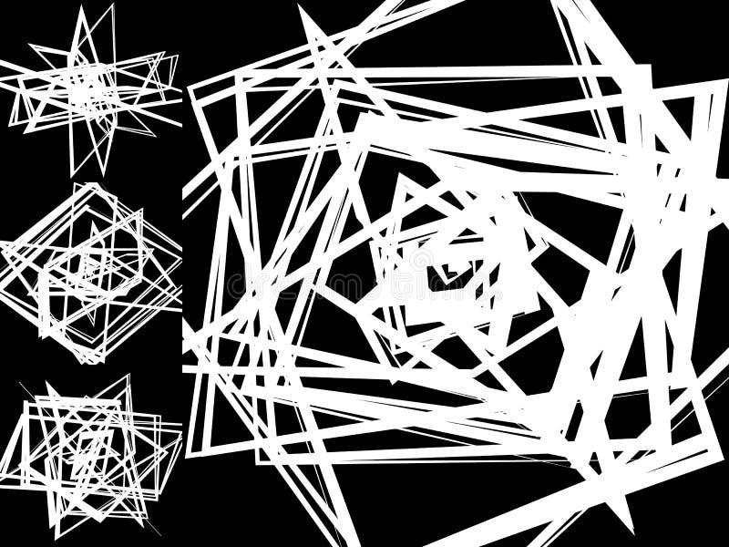 Abstraktów wzory z przypadkowymi, chaotycznymi zirytowanymi kształtami, nieregularnymi, d ilustracji