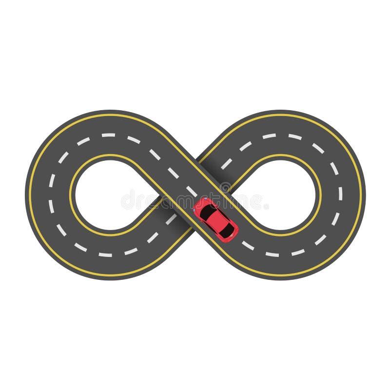 Abstrakt ändlös väg som isoleras på vit bakgrund Röd bil för tecknad film Körbanan vektor illustrationer
